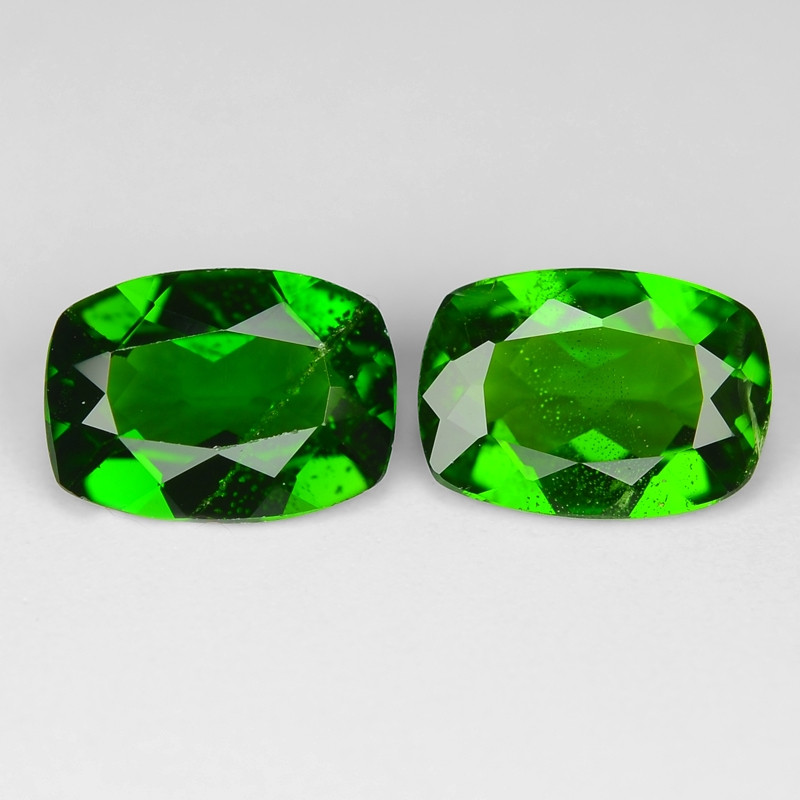 1.44 Cts 2pcs Natural Green Color Chrome Diopside Loose Gemstone