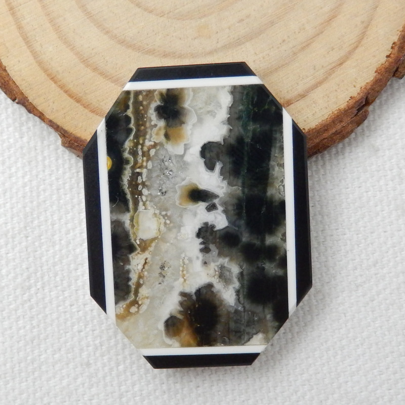 Fashion Obsidian,Ocean Jasper,White Agate Intarsia Cabochon E459