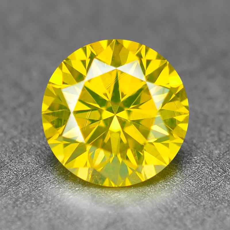0.39  Cts Sparkling Fancy Vivid Yellow Natural Loose Diamond -Si1