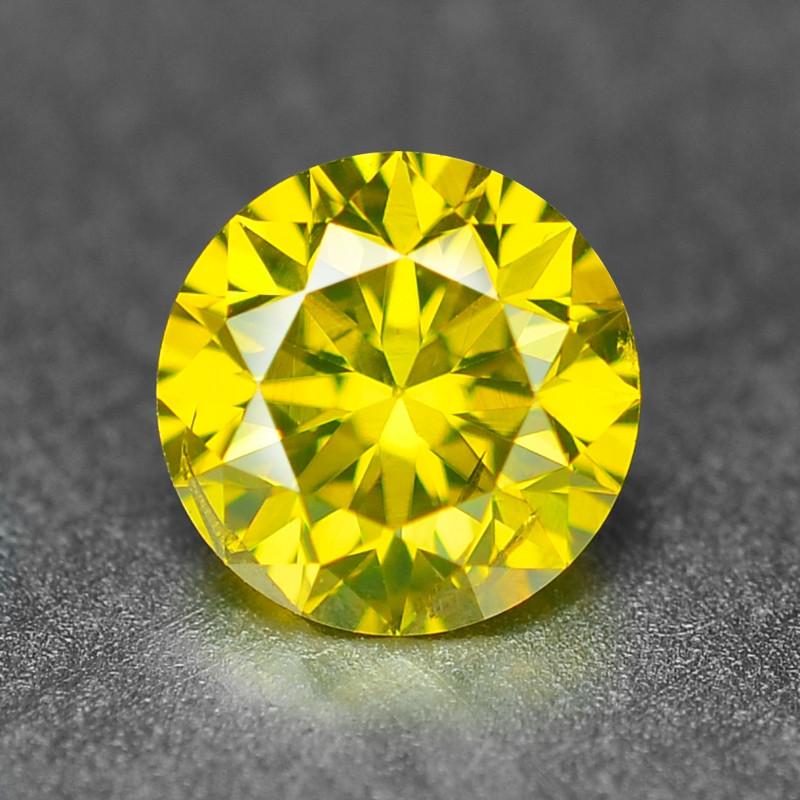 0.37  Cts Sparkling Fancy Vivid Yellow Natural Loose Diamond -Si1