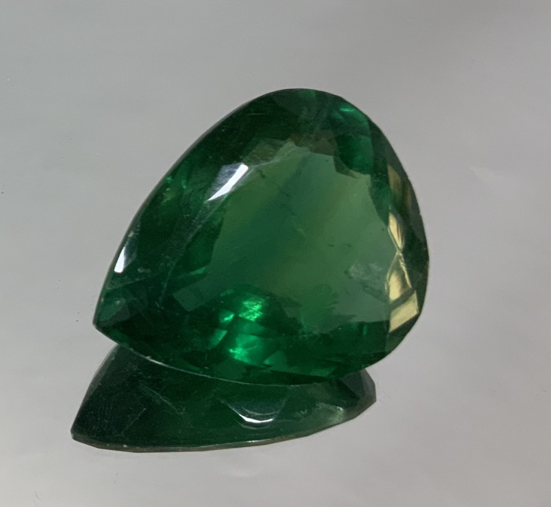 148.05ct  Green Fluorite Big Drop 37.3x30.8mm (SKU101)