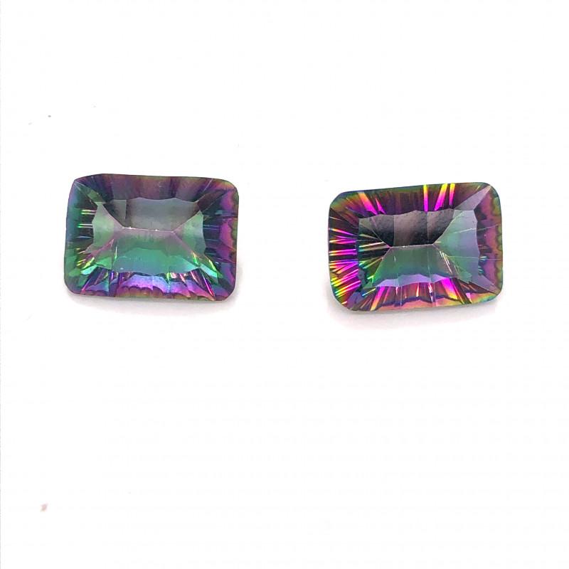 Pair Mystic Quartz Gemstone Cushion  Cut OMR 468