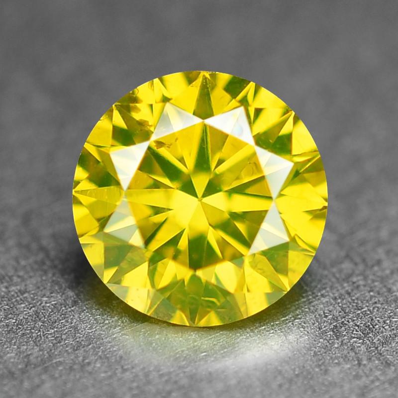 0.36 Ct Sparkling Fancy Vivid Yellow Natural Loose Diamond -SI1