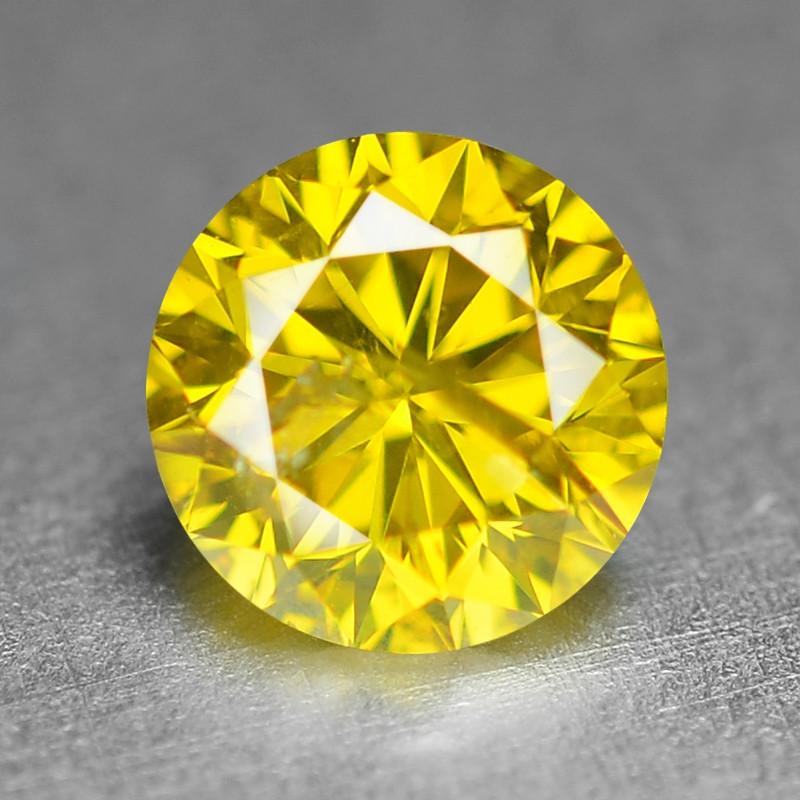 0.38 Ct Sparkling Fancy Vivid Yellow Natural Loose Diamond -SI1