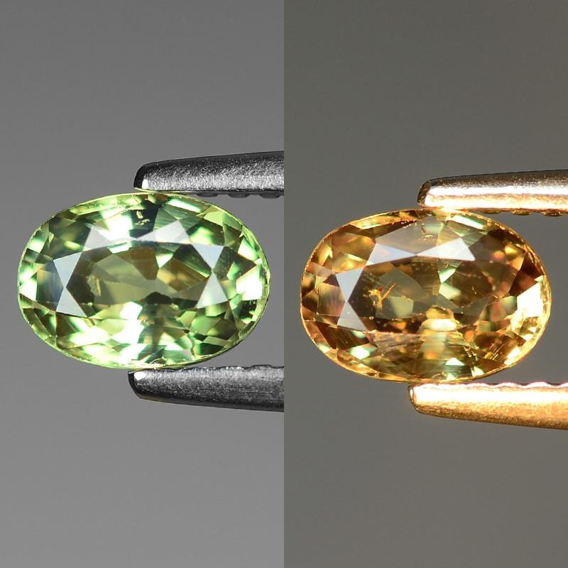 0.91 Cts  Natural Color Change Green To Orange Alexandrite Gemstones