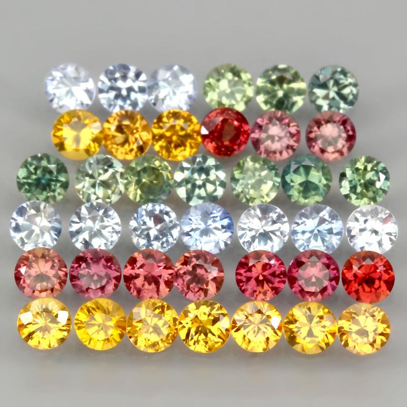 3.35ct 40pcs 2.5mm Round Diamond Cut Natural Blue Pad Green Yell Sapphire