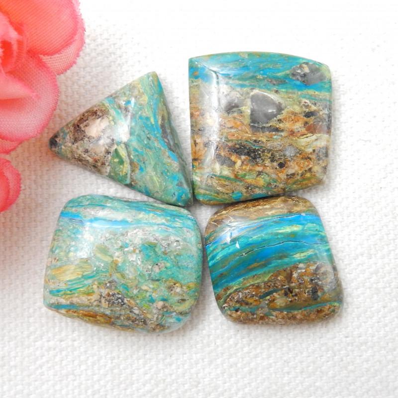 4pcs Pure Blue 63cts Blue Opal Cabochon, October Birthstone, Blue Opal Bead
