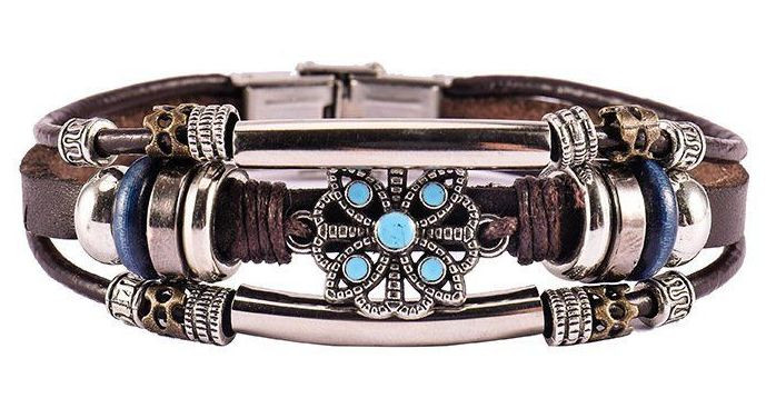 Tibetan Boho Bracelet  Leather and  alloy Handmade Bangle