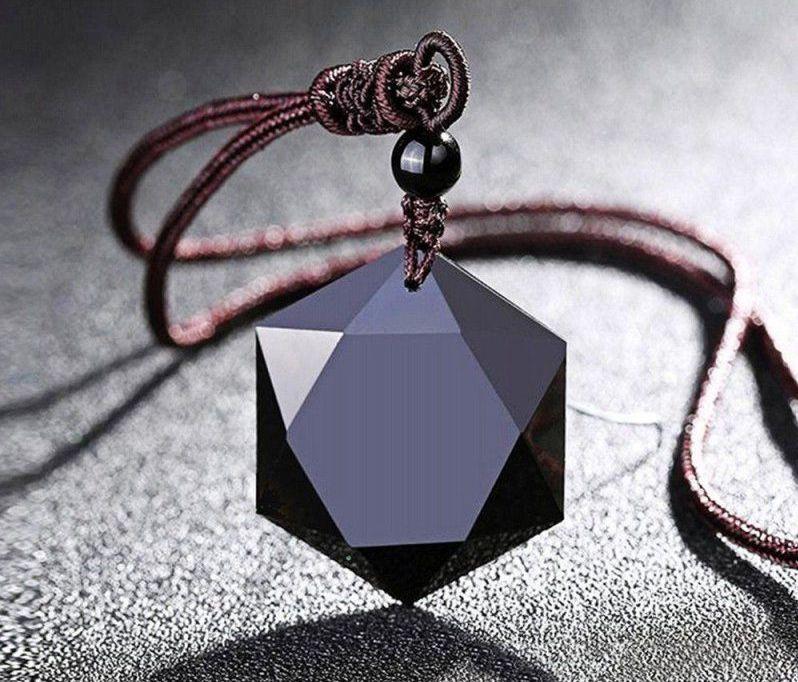 Black Obsidian  Pendant Necklace Men Women Unisex Jewelry 50cm