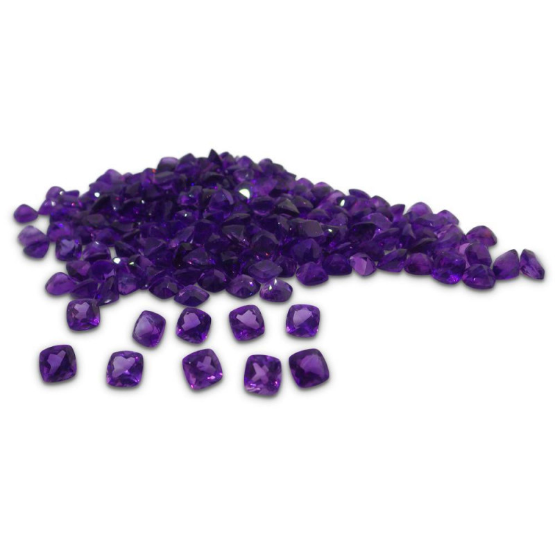 9.80 ct Amethyst 6mm Cushion-$1 No Reserve Auction