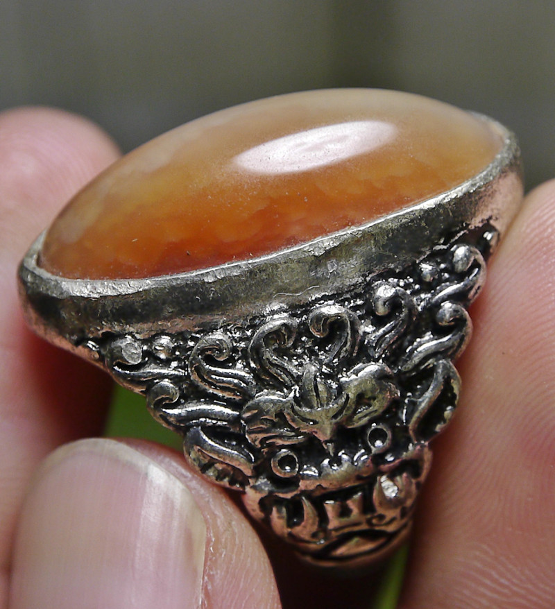 79.60 CT UNTREATED Indonesian Chalcedony Agate Jewelry Ring