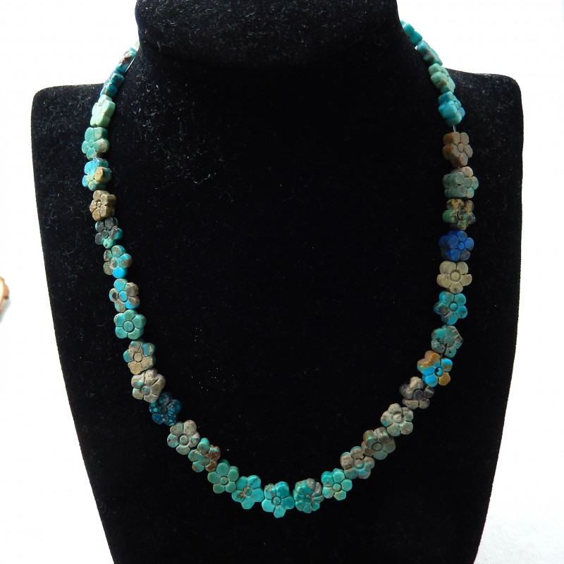 41pcs Turquoise Necklace ,Carved Flower Turquoise Necklace ,Turquoise Beads