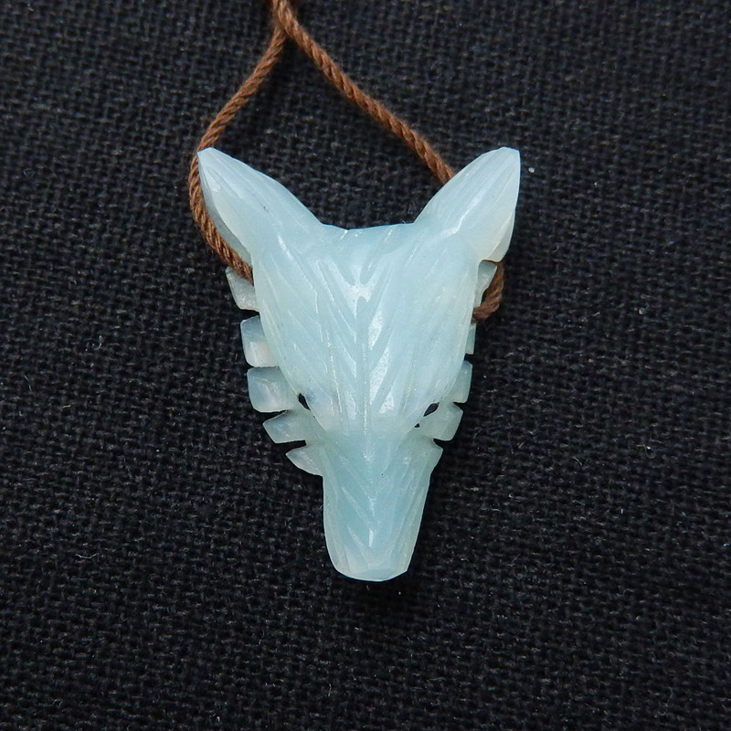 Handmade Amazonite Carved Wolf Head Pendant Bead, 26x20x9mm
