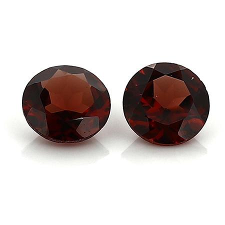 1.87 Cttw Pair of Round Garnets: Deep Red