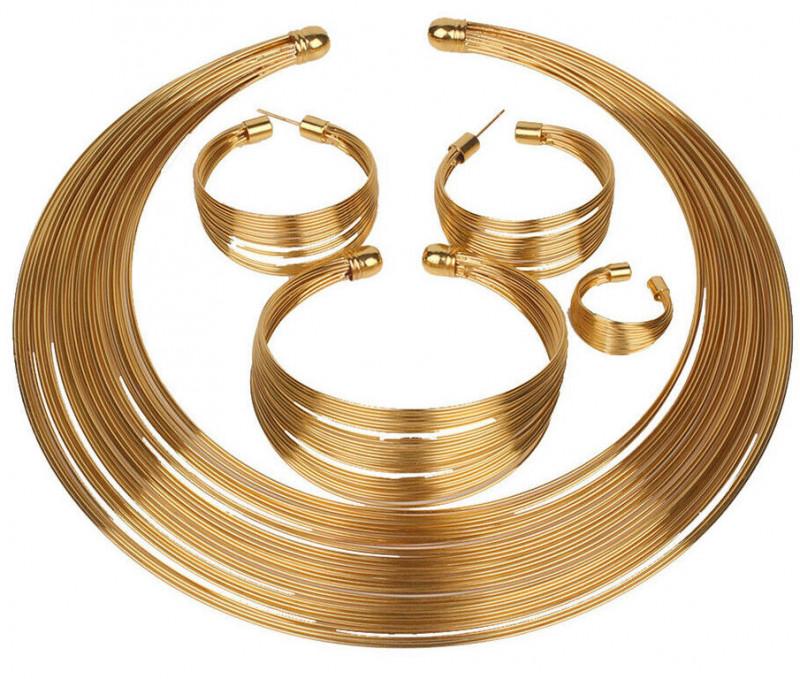 4Pcs/Set Charm Nigerian Bridal Circle Necklace Earrings Bracelet Ring Jewel