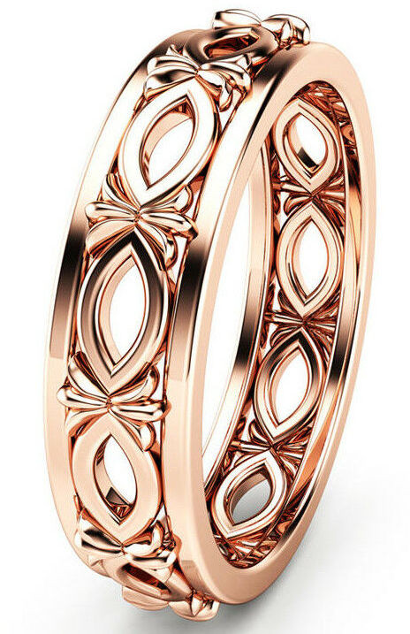 NICE ROSE GOLD PLATED SILVER  RING size 7