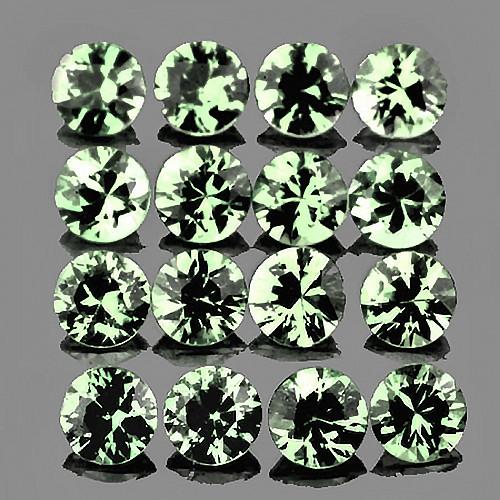 2.00 mm Round Machine Cut 20 pcs Green Sapphire [VVS]