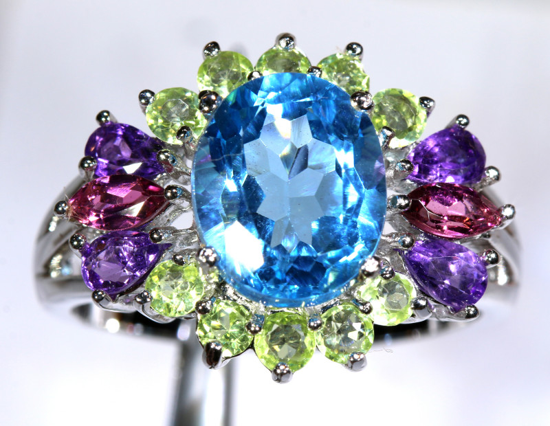 38.30 CTS  BLUE TOPAZ  SILVER RING   SIZE- 6.5   SG-3052