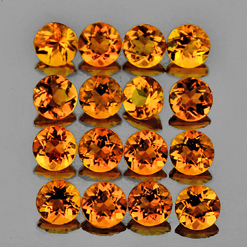 3.00 mm Round 25 pcs 2.15cts Orange Citrine [VVS]