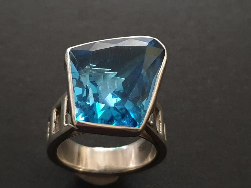 London blue topaz  designer hand crafted ring