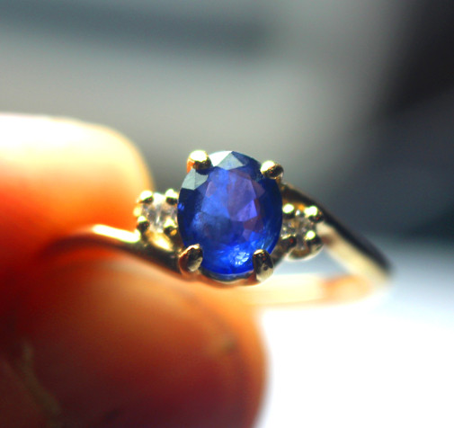 Blue Oval Sapphire Diamonds 14 K Gold Ring $275