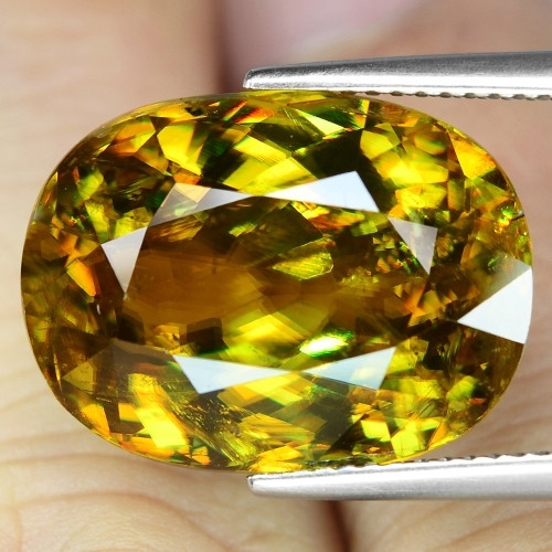 18.80 Cts Amazing Rare  Color change Yellow Green Natural Sphene  Gemstone