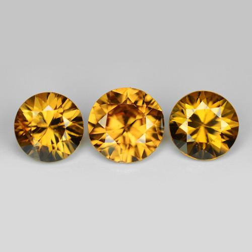 3.74 Cts 3pcs Amazing Rare Champagne Color Natural Zircon Gemstone