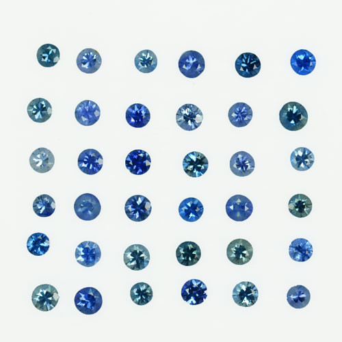 2.10Ct Natural Blue&Green Sapphire Round 2.50mm Parcel