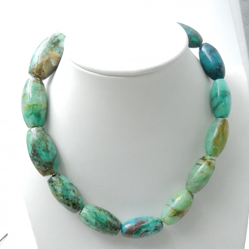 393.5 Cts Reserved for Customer  Chrysocolla Beads Strands Heavy Necklace B
