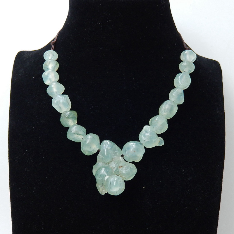 Natural 14mm Faceted Prehnite Necklace