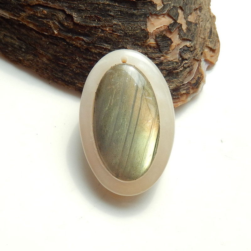 34.5cts New design Labradorite And Pink Shell Oval Intarsia Pendant Bead H9