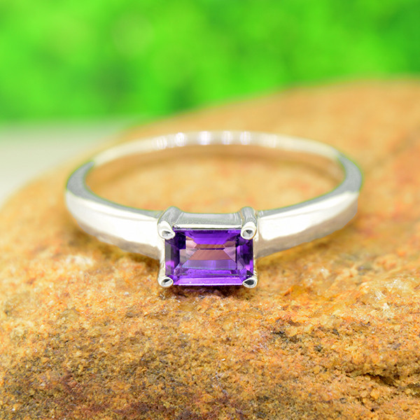 Natural Amethyst 925 Sterling Silver Ring Size 9 (SSR0631 )