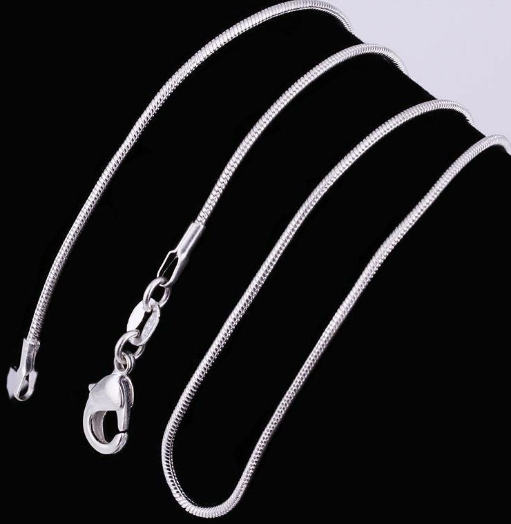 1pc 925 Silver plated 1MM Snake Chain For Pendant Necklace 16 inches