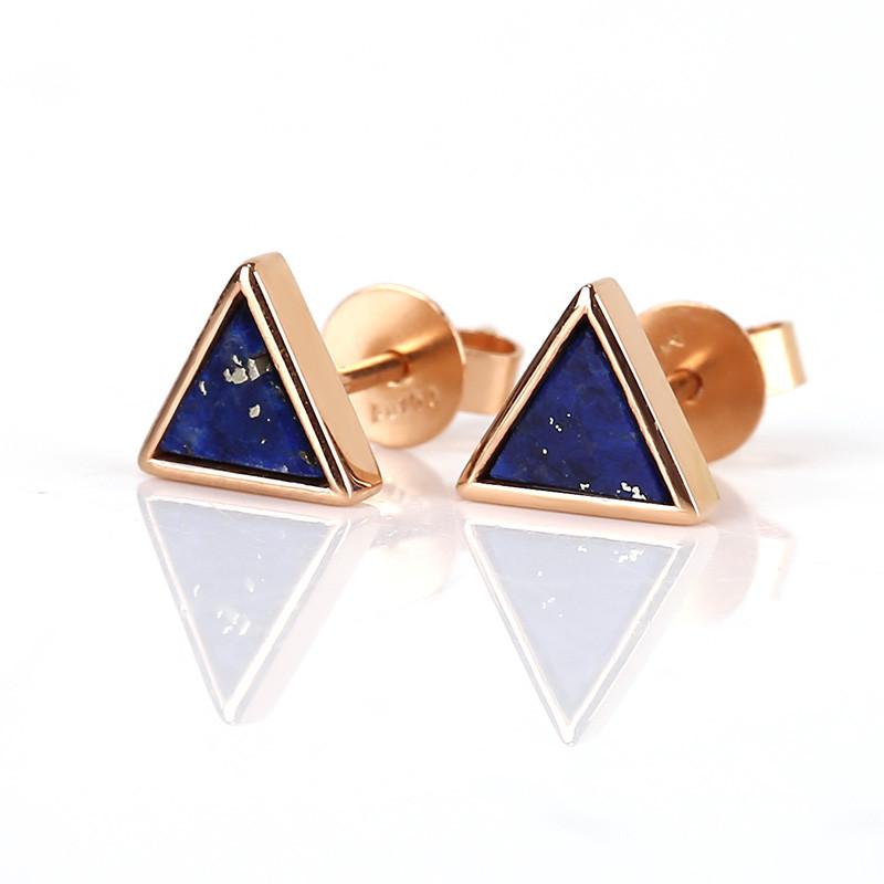 New Design!18k Gold Lapis Lazuli Triangle Earrings , Lapis Lazuli Earrings
