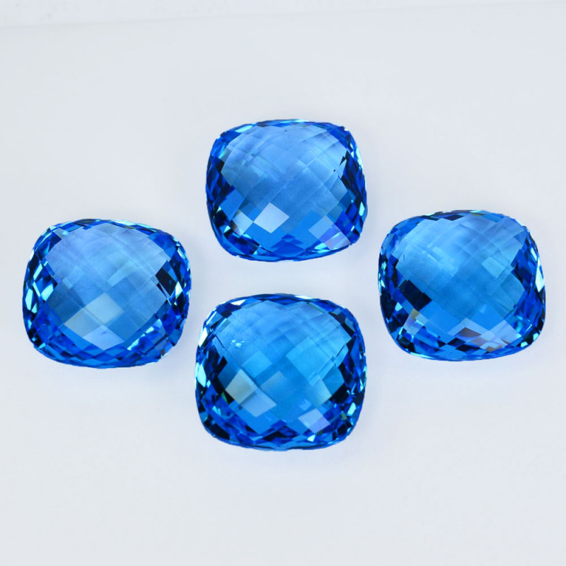 ~SET~ 78.70 Cts Natural Baby Blue Topaz Cushion Checkerboard 4Pcs Brazil