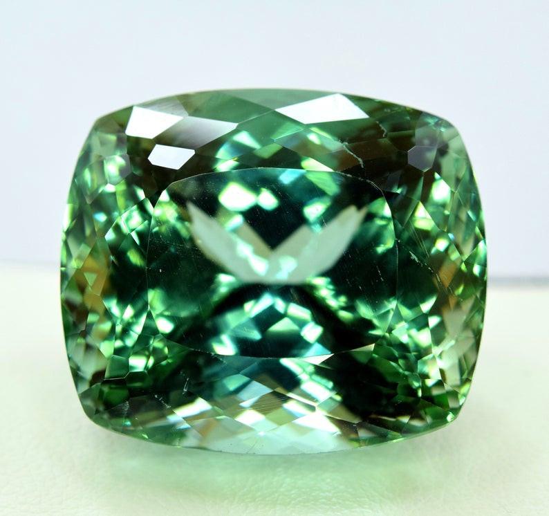 70.15 Carats Cushion Cut Lush Green Spodumene Gemstone From Afghanistan