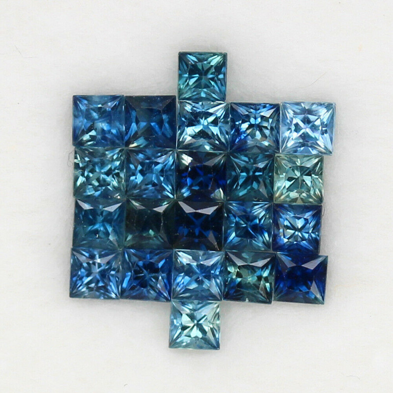 4.00 ct. 2.7-3 mm. PRINCESS CUT MULTI COLOR SAPPHIRE NATURAL GEMSTONE 22PCS