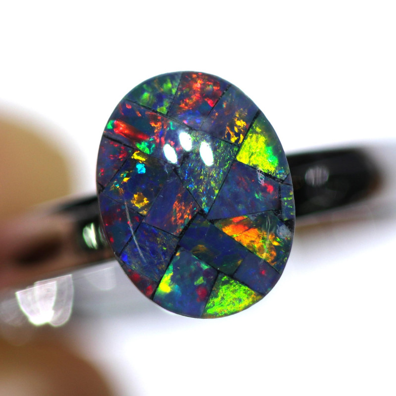 STUNNING MOSAIC TRIPLET OPAL WITH ADJUSTABLE RING 64