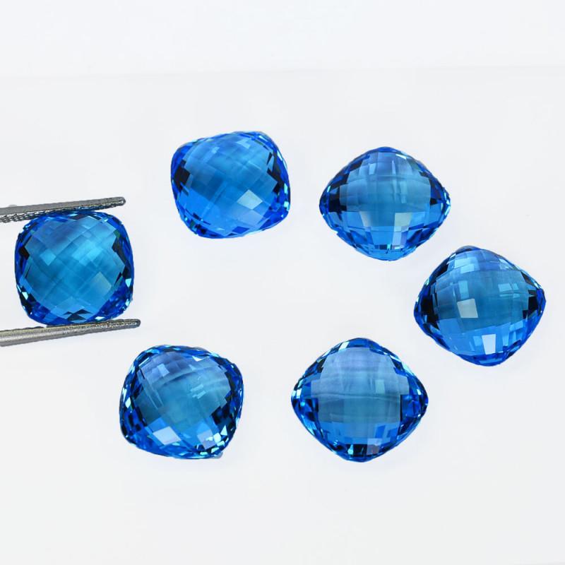 ~SET~ 88.56 Cts Natural Baby Blue Topaz Cushion Checkerboard 6Pcs Brazil