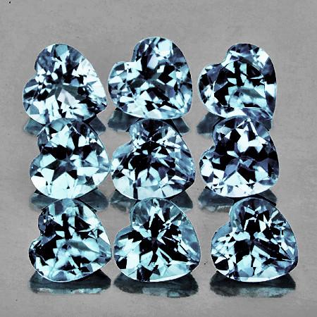 3.30 mm Heart 9 pcs 1.04cts Blue Aquamarine [VVS]