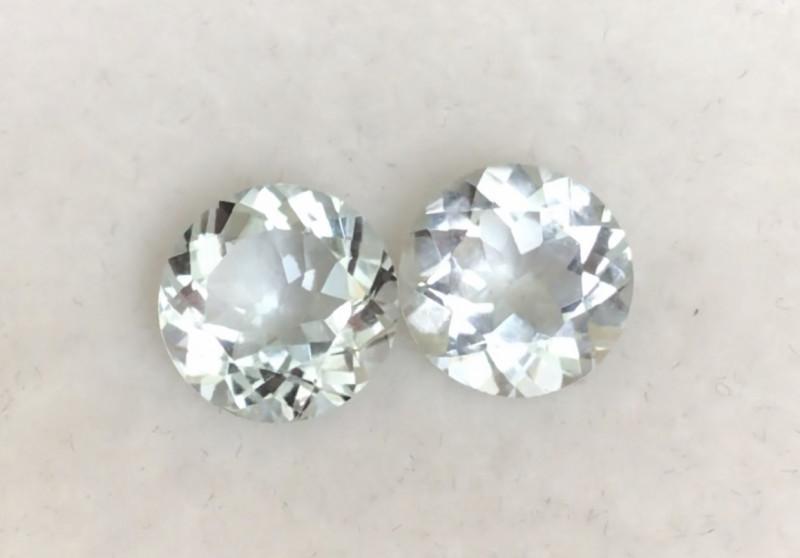 Sparkling Silvery (Colorless) Aquamarine Pair