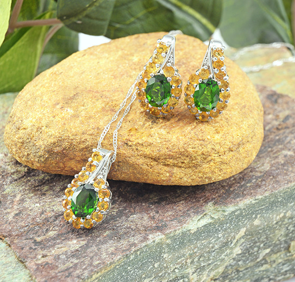 Natural Chrome Diopside & Citrine 925 Sterling Silver Set (SSS0640)