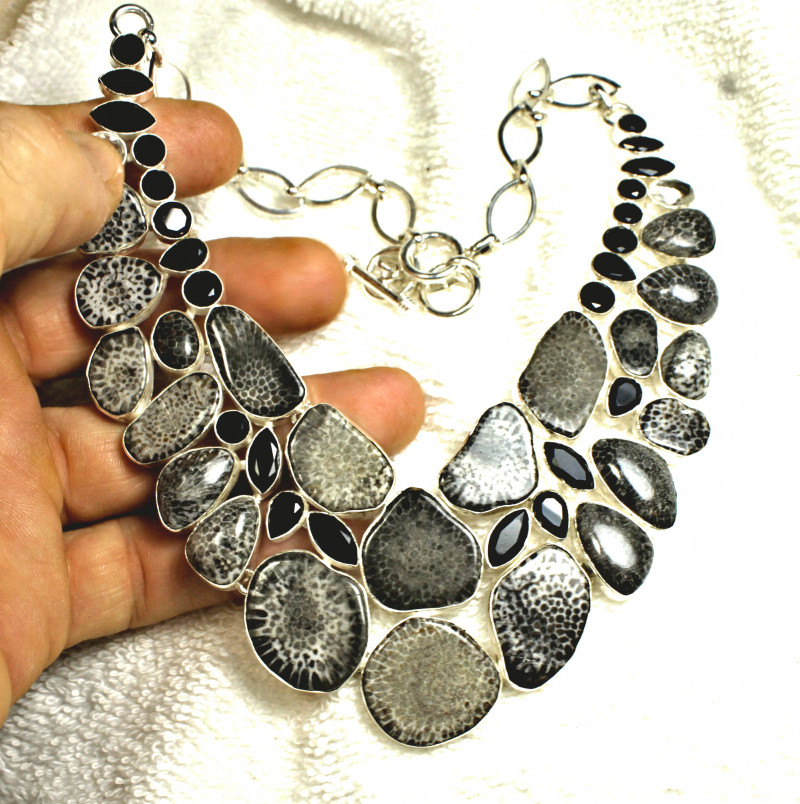 542.0 Tcw.  Fossil Coral / Sterling Silver Necklace - Gorgeous