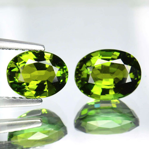 3.41 Cts Natural Green Tourmaline Oval Cut 2 Pcs Mozambique Gem