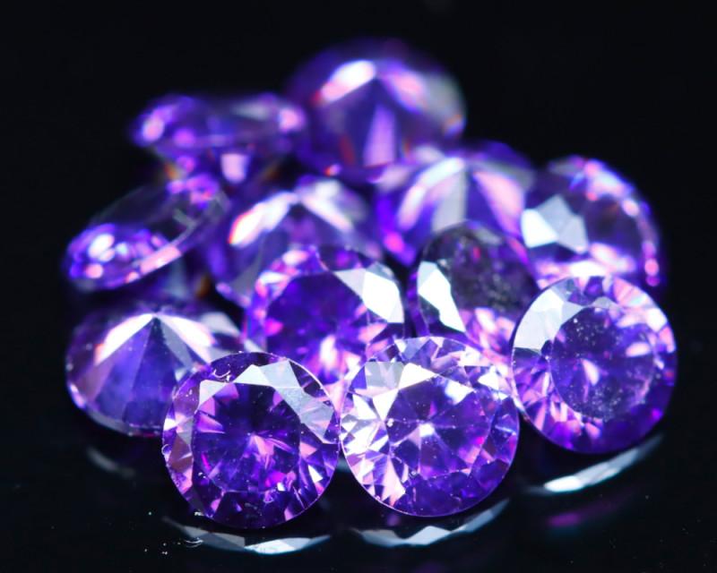 3.63Ct Natural Uruguay VVS Electric Purple Amethyst 12Pcs Lot D0609