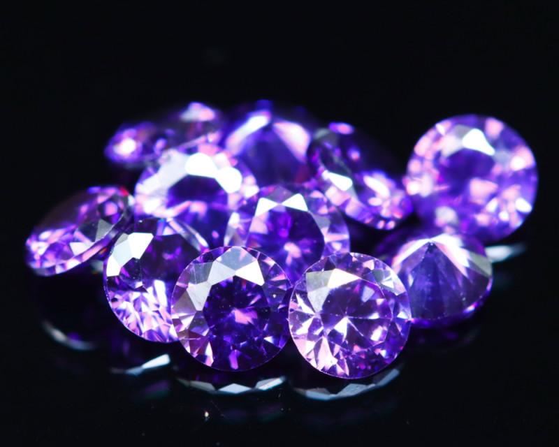 3.67Ct Natural Uruguay VVS Electric Purple Amethyst 11Pcs Lot  D0611