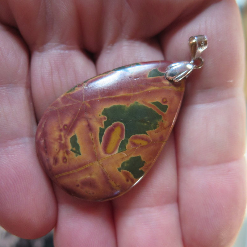 NICE PICASSO JASPER PENDANT STERLING SILVER BAIL