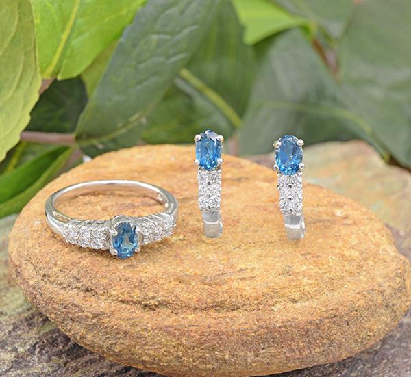 Natural Blue Topaz 925 Sterling Silver Set (SSS0647)