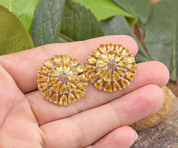 Natural Opal & Citrine 925 Sterling Silver Earrings (SSE0644)
