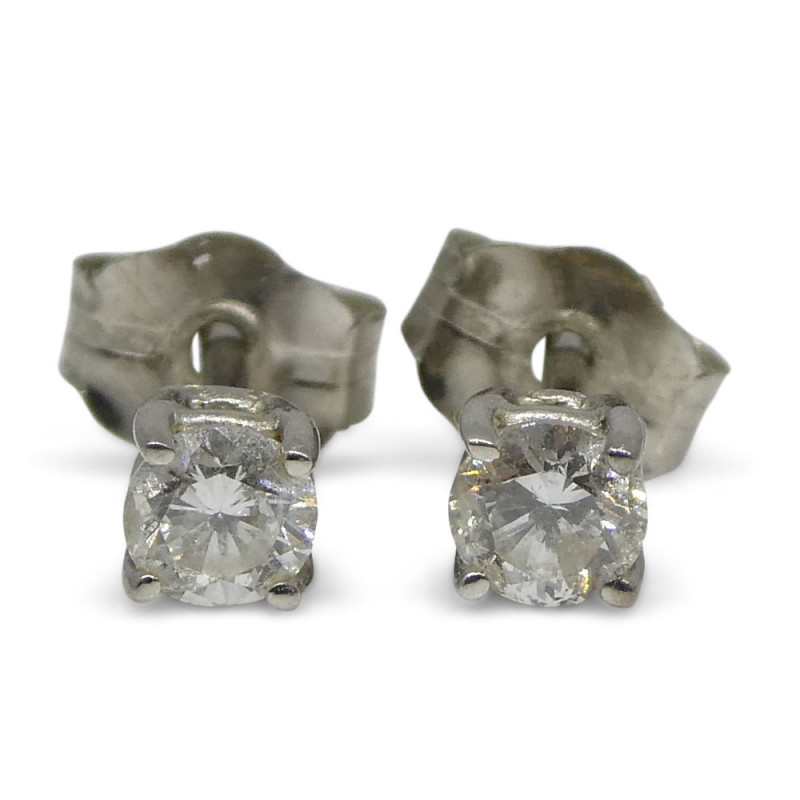 0.22 ct Round Diamond Stud Earrings  14kt White Gold- $1 No Reserve Auction